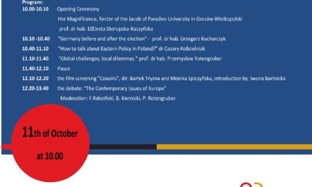 Seminarium inaugurujące działalność Regionalnego Ośrodka Debaty Międzynarodowej w województwie lubuskim Środa, 11.10.2017