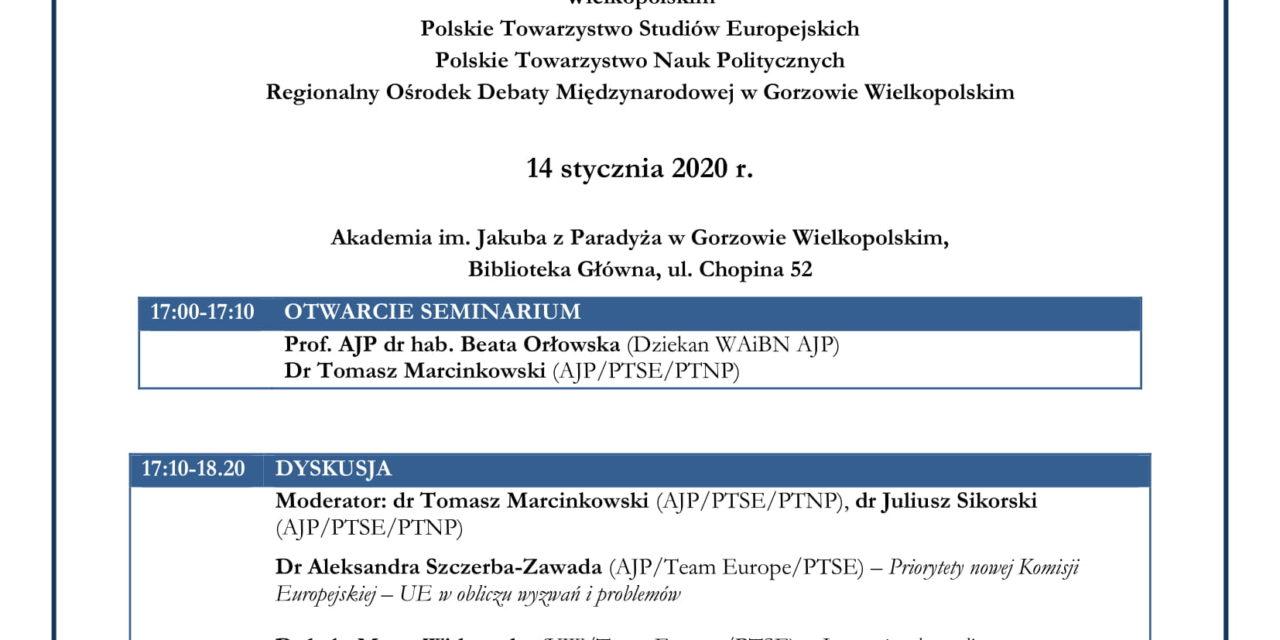 """Seminarium naukowe  """"Komisja Europejska wobec wyzwań przyszłości"""""""