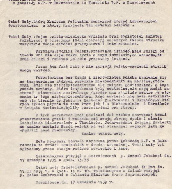 Nota, której nie przyjął ambasador Grzybowski