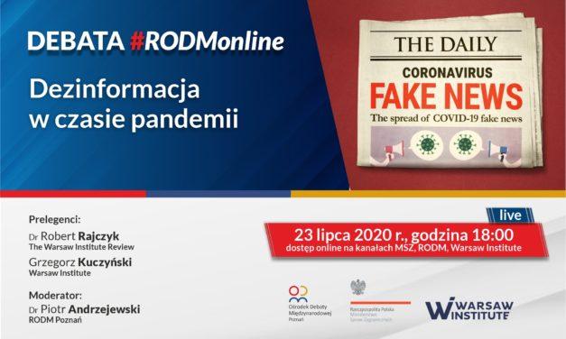 """Debata #RODMonline: """"Dezinformacja w czasie pandemii"""""""
